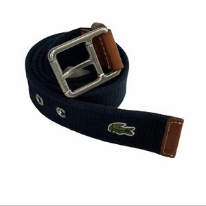 Lacoste Navy Cloth Leather Canvas Belt Men's 34